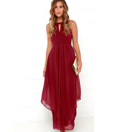Wholesale Red Elegant Dress Long Xs - Robe Longue Femme 2016 New Brand Wine Red Elegant Long Dress Party Sexy Chiffon Summer Women Dress Maxi Vestidos De Festa XXL