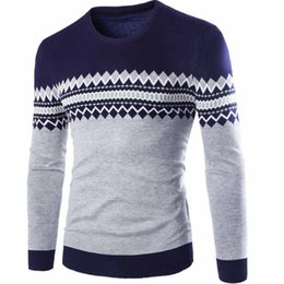 Wholesale Men S Christmas Clothes - Wholesale- 2016 Fashion Sweater Mens sweaters Casual Print Sweater Brand Clothing christmas pullover men