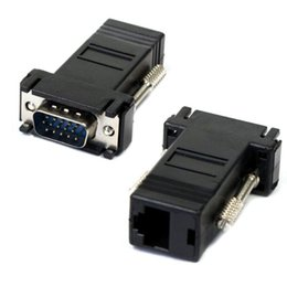Wholesale Vga Rj45 Adapter - Wholesale- Factory Price New Hot Selling VGA Extender Male To Lan Cat5 Cat5e RJ45 Ethernet Female Adapter Free Shipping Drop Shipping