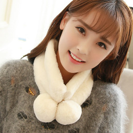 Wholesale Rabbit Red Scarf - color double areata rabbit wool collar in winter to keep warm collar set of joker head scarf