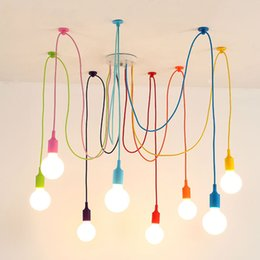 Wholesale E27 Led Blue - Modern E27 Art Colorful Pendant Lights Spider Chandelier Pendant Lamp Indoor Decoration Lamp 6 8 10 12 14 16 Heads