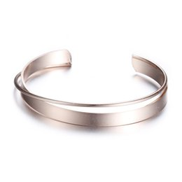 Wholesale Thin Gold Plated Bangles Wholesale - 2017 new arrivals brand luxury open cuff bracelets bangle simple design rose silver color thin wide bangles hollow bracelet