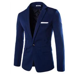 Traje de pana slim fit para hombre online-Venta al por mayor- 2017 nueva primavera verano marca de moda única para hombre Blazer hombres pana Casual Blazer Slim Fit hombres de negocios traje chaqueta azul