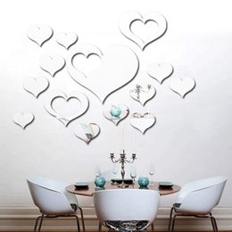 Wholesale Love Heart 3d Stickers - New Acrylic 3D Mirror Wall Stickers Hollow Shape Love Heart Decals Home Background Decor Diy Back Self-adhesive 3 Colors