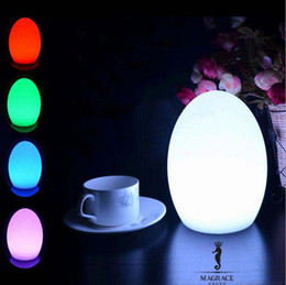 Wholesale Egg Shape Lamp - Wholesale- Novelty 14*18cm Egg Shape LED USB Chargeable Night Light 16 Color Changeable For Party Bedroom Christmas Decorative Table Lamps