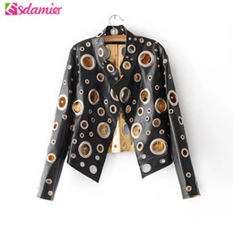 Wholesale Motors Jacket - Wholesale- New 2017 Punk Hollow Out Leather Jacket Black Gold Silver Metal Loops Stitching Women's Jacket Fashion Motor Jacket Faux Leather