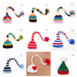 Wholesale Handmade Baby Costumes - Cute Stripe Long Tail Hats Newborn Baby photography Props Handmade Make Photoes Costume Knitted Beanie Crochet Hat Caps TOP1930