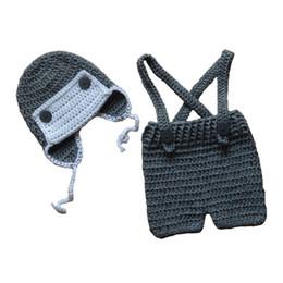 Wholesale Newborn Baby Boy Aviator Hats - Newborn Knit Aviator Costume,Handmade Crochet Baby Boy Girl Grey Visor Hat and Suspenders Short Set,Infant Toddler Photography Prop