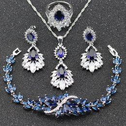 Wholesale Blue Topaz Drop Earrings - Brilliant Blue Sapphire White Topaz Wedding Jewelry Set For Women 925 Sterling Silver Necklace Drop Earrings Bracelets Ring Bt26