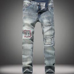 Wholesale Mens Slim Jeans Size 38 - New Fashion Summe Mens holes Jeans Patch Slim Fit Skinny Ripped Men Jeans Streetwear Vintage Jeans Size 28-38