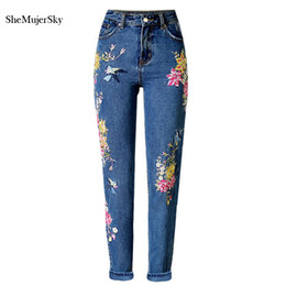 Wholesale Women Embroidered Jeans - Wholesale- 3D Embroidery High Waist Jeans Women 2017 Fashion Straight Denim Embroidered Jeans Woman Pants