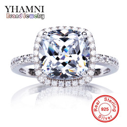 Wholesale 3ct Engagement Rings - YHAMNI Brand Real original Solid Silver Engagement Ring Set 3ct Diamond 925 Sterling Silver Wedding Rings For Women LA001