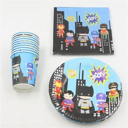 Wholesale Disposable Party - Wholesale- Disposable Birthday Party Decoration Superhero Kids Favors Napkins Paper Plates Cups Happy Baby Shower Supplies 32pc\lot