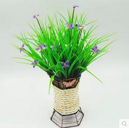 Wholesale Rustic Artificial Flowers - wholesale plastic flower artificial Green grass household rustic clover plants artificial lucky grass NO vase  10pcs MA1508