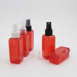 Wholesale Red Sprayers - 50 x 50ML Square Red Pet Mist Sprayer Bottle Atomizer 50cc Plastic Cosmetic Packaging