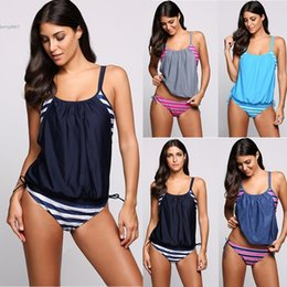 Wholesale Summer Sets For Women - Fashion swimwear for women clothing Striped Hollow Out Lace Up Tankini Set Swimsuit bathing suits For Summer Beach