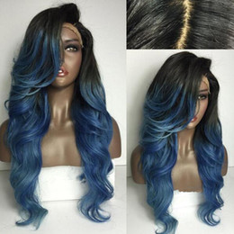Wholesale Long Hair Wigs Cheap - Long Wave Ombre synthetic hair Synthetic Hair Wig ombre synthetic lace front wigs Cheap African American Wigs