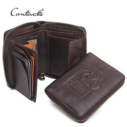 Wholesale Bicycle Bag Holder - Wholesale- CONTACT'S Men Wallets Genuine Leather Brand Design Zipper Purses Bicycle Print Designer Mens Purses Money Bag With Coin Pocket