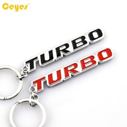 Wholesale Cute Badges - Car Cute Logo TURBO Car Emblems Badge Keyring for mercedes benz bmw nissan toyota vw Fit for all cars Car Accessories Styling