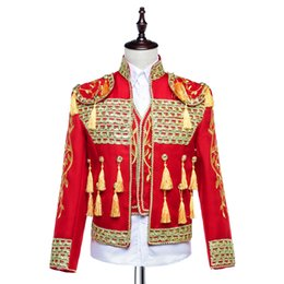 Wholesale Spanish Suit - Wholesale- Hand Made 2016 Long Sleeves Men's Court Suits Costumes Slim Tassel Spanish Bullfighter Costumes For Men