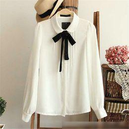 Wholesale Tying Stand - Raodaren Blouse Women Plus Size 2017 Ladies Tops Casual T Shirt Female Elegant Bow Tie White Blouses Chiffon Peter Pan Collar Long Sleeve
