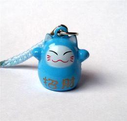 Wholesale Maneki Neko Charms - Wholesale 50pcs Blue (HAPPINESS) Maneki Neko Lucky Cat Bell Cell Phone Charm Strap 0.6 in. Popular Gift