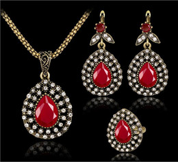 Wholesale Vintage Red Stone Pendant - 5SETS Ring Earring Necklace Set Women Vintage Red Stones Pendant Necklaces Bronze Plated Rhinestones Jewelry Set