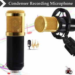 Wholesale Microphone Mounts - BM-800 High Quality Professional Condenser Sound Recording Microphone with Shock Mount for Radio Braodcasting Singing Black PC Computer