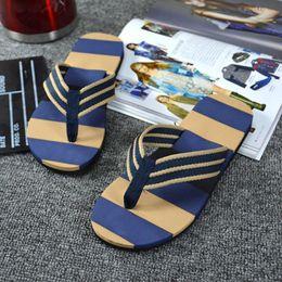476d791607b4 Wholesale-Splendid Sandals 2016 Summer Beach Flip Flops Men Summer Stripe Flip  Flops Shoes Sandals Male Slipper Flip-flops size 40- 44