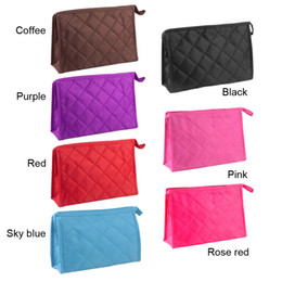 Wholesale Zip Up Storage Bags - Woman Rhombus Design Zip Closure Make Up Cosmetic Bag Storage Pocket With Mirror Small Size Cosmetic Organizer 2804009