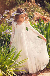Wholesale Girls Dresses For Events - Cute Long Sleeve Lace Flower Girls Dresses 2017 Weddings Events Kids Formal Wear Floor Length Children Wedding Party Gowns for little Girl