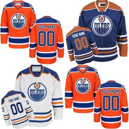 Camiseta de hockey azul naranja online-Camisetas de Edmonton Oilers a medida para hombre Personalizadas Naranja Azul Blanco Local Hockey cosido Jersey Tamaño S 4XL