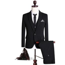 Wholesale Poplin Blazer - Handsome 2017 black custom made wedding suits for men Groom   Groomsmen Tuxedos mens wedding suits (Jacket+Pant+Vest)