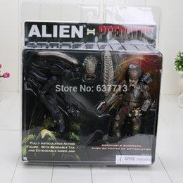 Wholesale Neca Alien Predator - Free Shipping 20cm NECA Alien VS Predator Tru Exclusive 2-PACK PVC Action Figure Toy