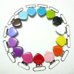 Wholesale Dummy Holder Clips - Wholesale-15Pcs Pacifier Clips Metal Candy Color Enamel Heart Suspender Pica Holders Clips Soother Holder For Baby Pacifier Dummy Nipple