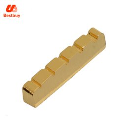 Wholesale Guitar Nut Slotting - 45.3*6*8.9-8mm 5 String Slotted Brass Gold Palted Electric Bass Guitar Nut for Bass