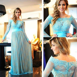 Wholesale Celebrities Sexy Clothes - Long Sleeve Party dresses Off Shoulder Neck Celebrity Clothing Discount Appliques Lace New Prom Evening Dress Modern Floor Length Zipper