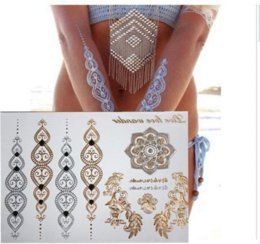 Wholesale Shop Tattoos - Free shopping new fashion flower body and I temporary henna tattoos metallic gold and silver bracelet stickers Flash tattoo art