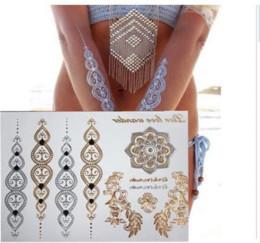 Pegatinas de tatuaje de pulsera online-Compra gratis nueva moda cuerpo de flores y tatuajes temporales de henna metálicos de oro y plata brazaletes de flash arte del tatuaje de Flash