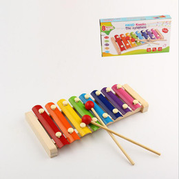 Wholesale Instruments Xylophone - Wooden children's educational toys knock piano octave xylophone knock early childhood musical instruments birthday gifts for kids