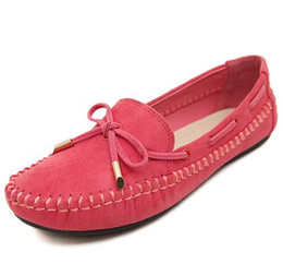 Wholesale Women Tassel Loafers - Women casual flat shoes girl red bowknot tassel slip-on genuine leather ballet shoes lady anti-skid solid loafer single shoes size 35-41