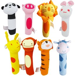 Wholesale Toys Bibi - Wholesale- 8 Style Stuffed Handbells Baby Rattles Cartoon Toy BIBI Bar Animal Squeaker Bar Baby Toys Hand Puppet Enlightenment Plush Doll
