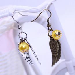 Wholesale Earrings Charming Drop Golden - 2017 New 2 colors Golden Snitch Earrings Drop Earring Antique Bronze&Silver Wings for Women statement jewelry movie jewelry FE334