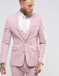 Wholesale Tuxedo For Beach Wedding - Wholesale- 2016 New Arrival Pink Beach Wedding Prom Suits For Men 2 Pieces Formal Tuxedos Two Buttons Blazer Bridegroom Best Man Costumes