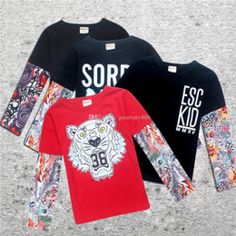 Wholesale Tattoo Sleeve Children - New baby INS printing T-shirts cotton Children Hip hop Tattoo Long sleeves tops Tees kids shirts 8 colors C2318
