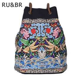 Wholesale Embroidered Bags Handmade - RU&BR Flower Embroidery Ethnic Backpacks National Wind Women Handmade Personality Embroidered Bag Canvas Drawstring Travel Bags