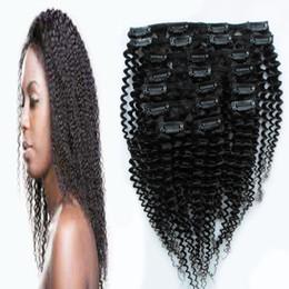 clips africanos gratis Rebajas Pelo rizado rizado mongol cabeza completa 100 g 7 unids y 120 g 10 unids clip afroamericano en extensiones de cabello humano Natural Color envío gratis