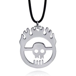 Wholesale Fine Human Hair - fine Jewelry Silver Plated Alloy Punk Rock children flame Necklace fire hair Human hollow skull Pendant Skeleton Necklace Women 2017 x356