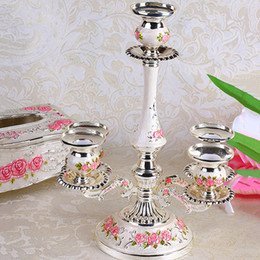 Wholesale Home Decoration Crystal - European Roses Candelabra Crystal Centerpieces Silver Candle Holders For Weddings Table Decorations Parties Home Decor