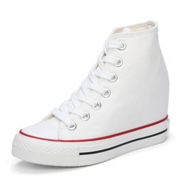 Wholesale Lace Up Closed Toe Wedges - All White Black Superstar High Top Canvas Women Shoes Espadrilles Spring Autumn Women's Wedges Shoes Lace Up Casual Shoes Sapatilha YD120